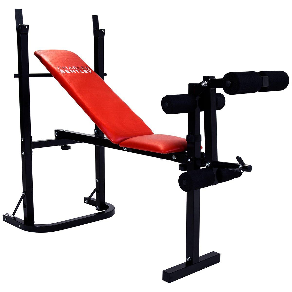 Charles Bentley Gewicht Bench zusammenklappbar Verstellbare Brust und Bein Workout Training – erhältlich in schwarz oder rot