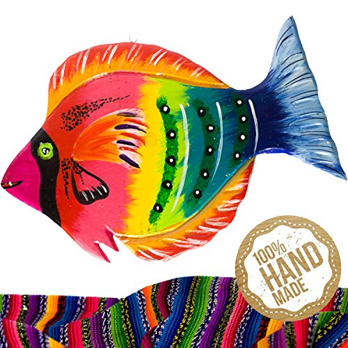 Rainbow Fish Wooden Wall Art Decor from Guatemala. Hand Carved & Made With 100% Real Wood. Perfect For Living Room & Bedroom Wall Hangings and Home Art - Mirror India