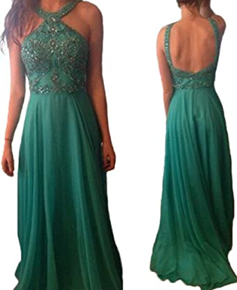 HONGFUYU Womens Prom Dress 2018 Green Long Charming Sexy Side Slit Custom Formal Dress Green-