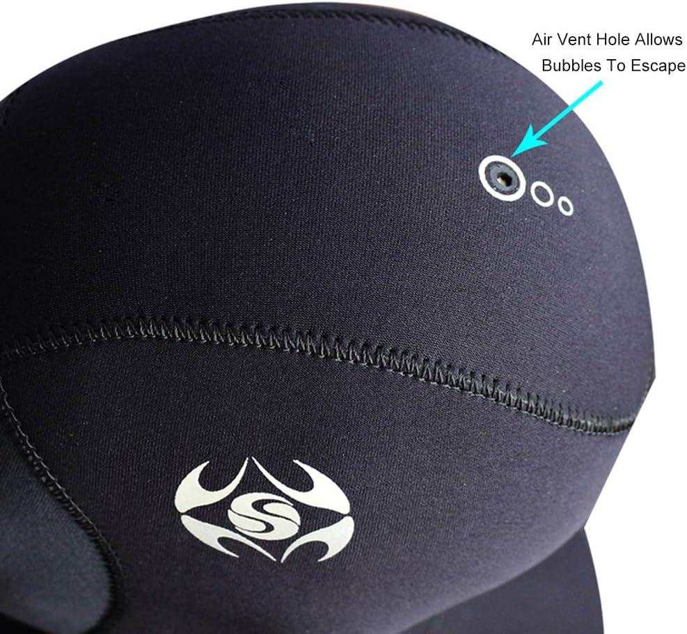 Vented Bib Diving Cap Thermal Flexible Protection for Surfing Snorkeling Kayaking Swimming Sailing Canoeing Water Sports DiNeop Wetsuit Scuba Hood Neoprene Dive Hood 3MM for Men Women