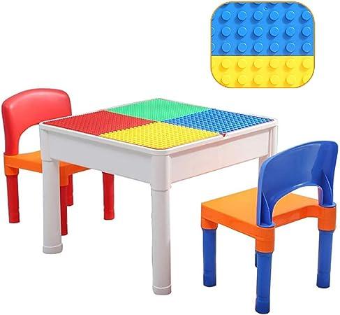 Juego de mesa de actividades y 2 sillas de plástico para bloques de para niños, juego