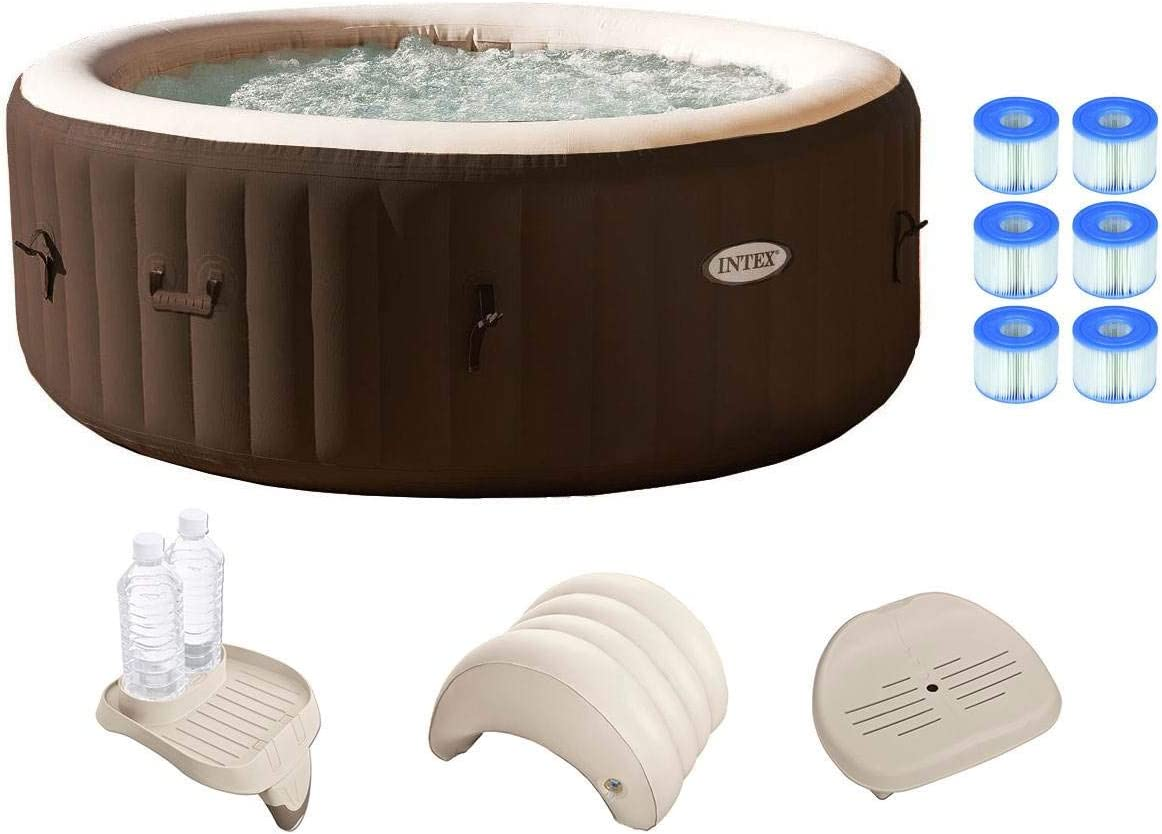 Intex PureSpa Bubble Massage 4 Person Inflatable Spa Portable Hot Tub w Filters Accessories