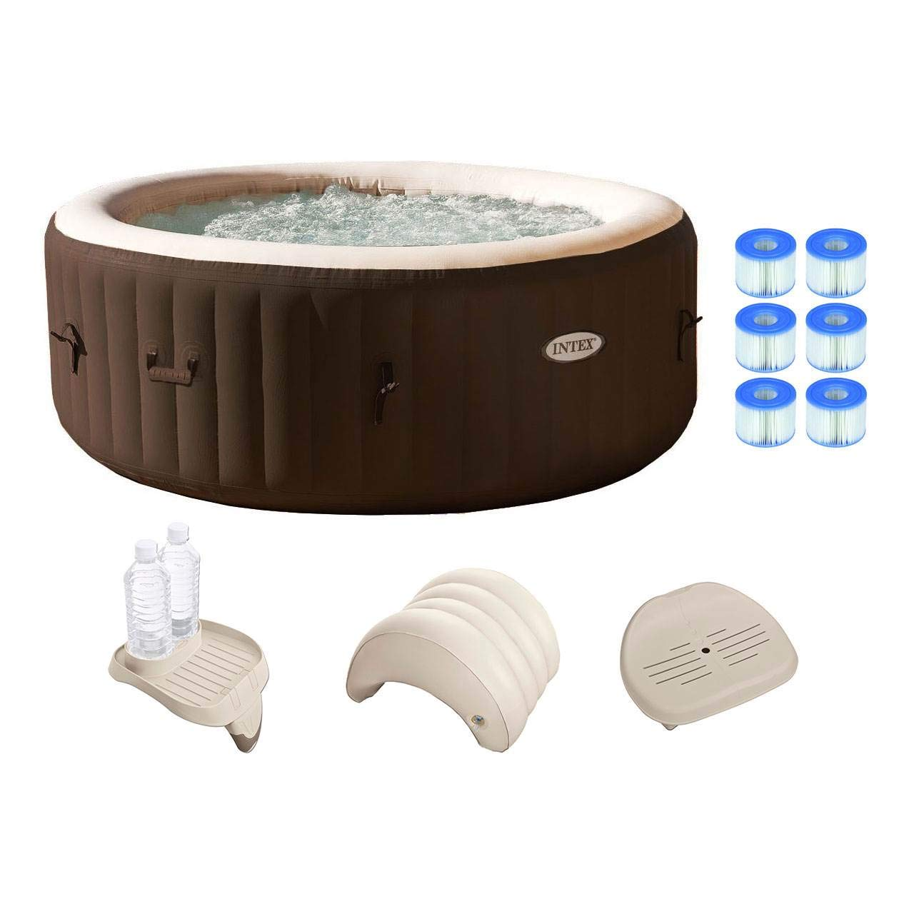 Intex PureSpa 4 Person Inflatable Spa Portable Hot Tub w Filters Accessories