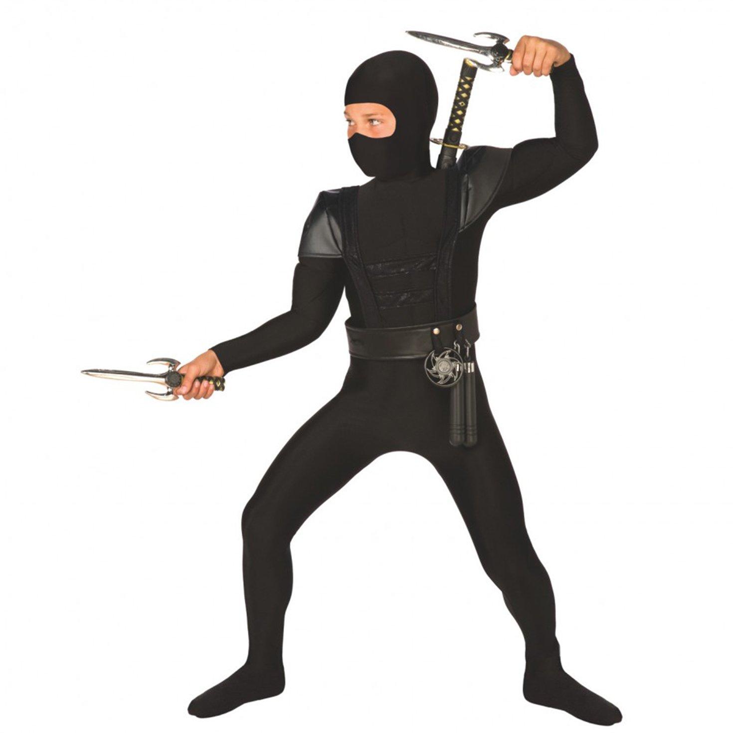 Kids Ninja Costume Childrens Black Kung Fu Karate Outfit - Medium (Age 6-8)