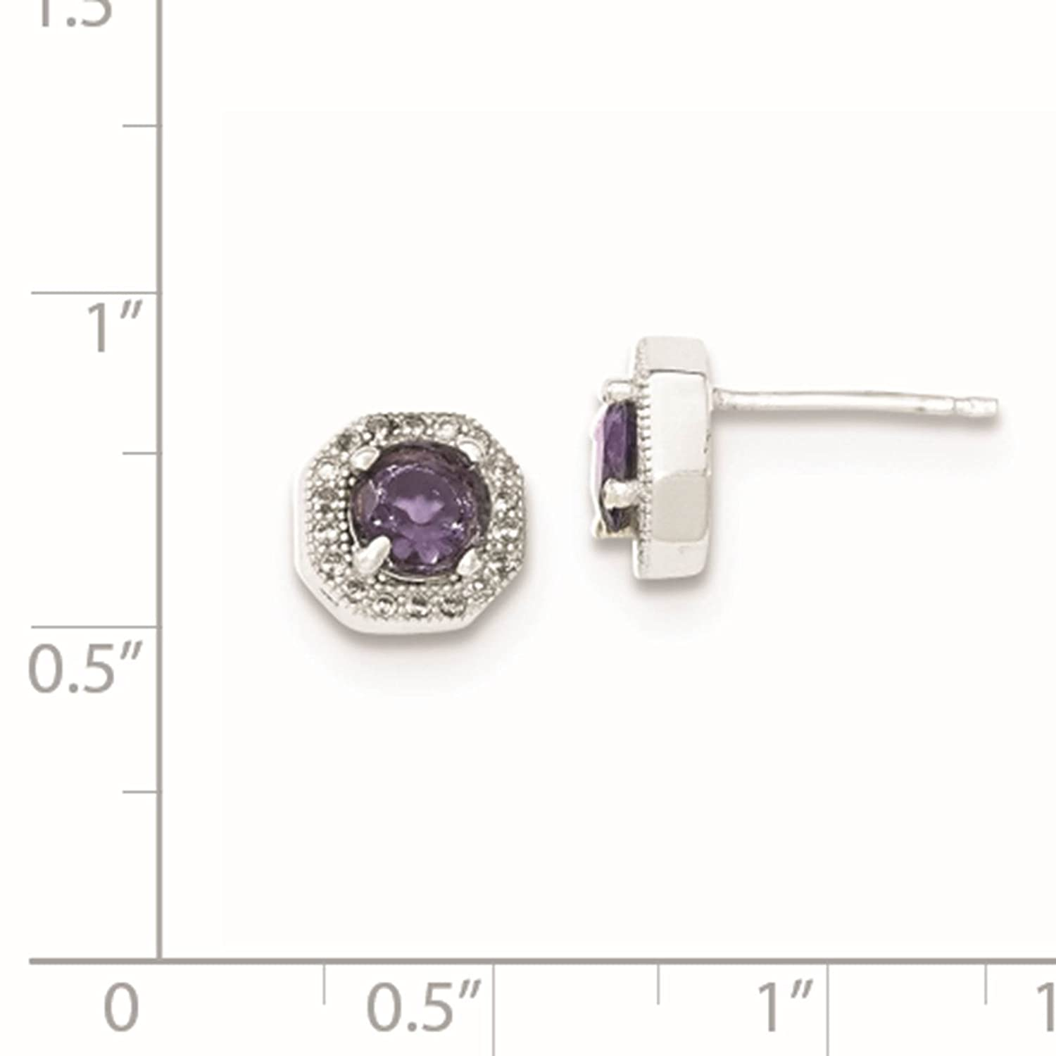 925 Sterling Silver Rhodium-plated Purple CZ Post Earrings