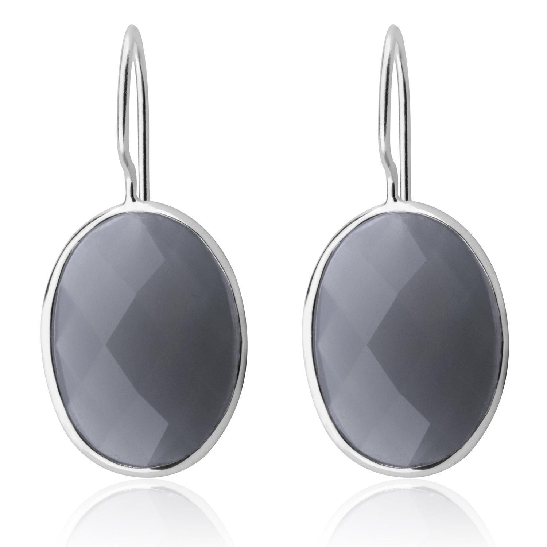Classic Water Drop Sky Blue Agate Earrings Solid MetJakt 925 Sterling Silver Earring for Lady Wedding Party Fine Jewelry (Grey)
