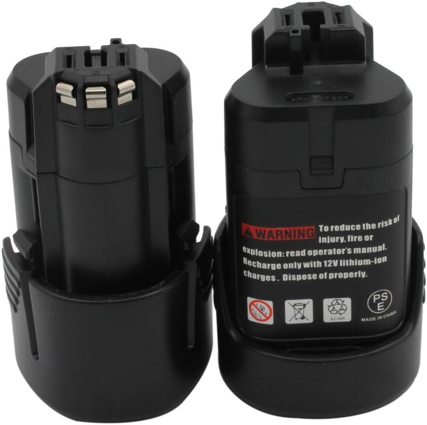 Batería recargable marca KINSUN Pack de 2 para herramientas electricas de batería 10,8 1.5Ah Li-Ion Compatible con Taladro inalambrico BOSCH  Destornillador modelos 2 607 336 013 2 607 336 014 BAT411 BAT411A BAT412A GDR 10.8-LI GMF 10.8 V-LI GSR 10.8 V-LI2 GUS 10.8 V-LI y más