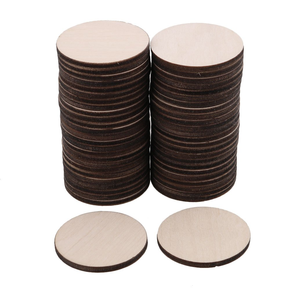 RDEXP 40mm Diameter Blank Round Wooden Pieces Natural Unpainted Wood Sheets for Wood DIY Craft Carving Wood Decoration Set of 50 RDEXPAM
