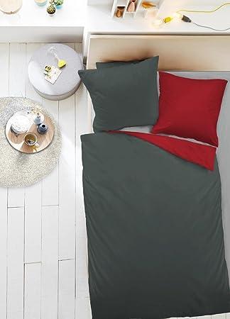 Dormisette Mako Satin Uni Wende Bettwäsche 135x200cm 2 Tlg Einfarbig