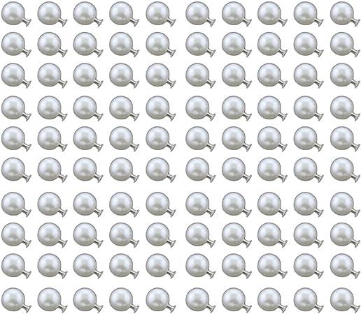 TREESTAR 100Pcs Rivetto con Perla Studs con Perline DIY Artigianali Fai da Te per Borse//Scarpe// Bracciali//Vestiti// Decor Bianche,Rotonde,10mm