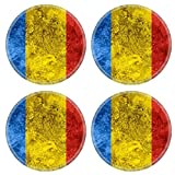 Luxlady Natural Rubber Round Coasters IMAGE ID 31117084 flag of Romania or Romanian banner on vintage metal texture