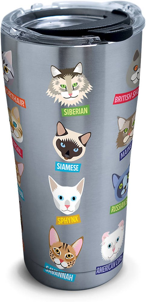 Tervis 1261379 Flat Art - Cats Stainless Steel Tumbler with Clear and Black Hammer Lid 20oz, Silver