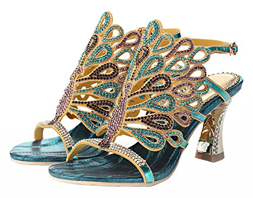 Blue Women's Handmade Peacock Sandals Rhinestone Honeystore Patterned Zx1qTwPZH