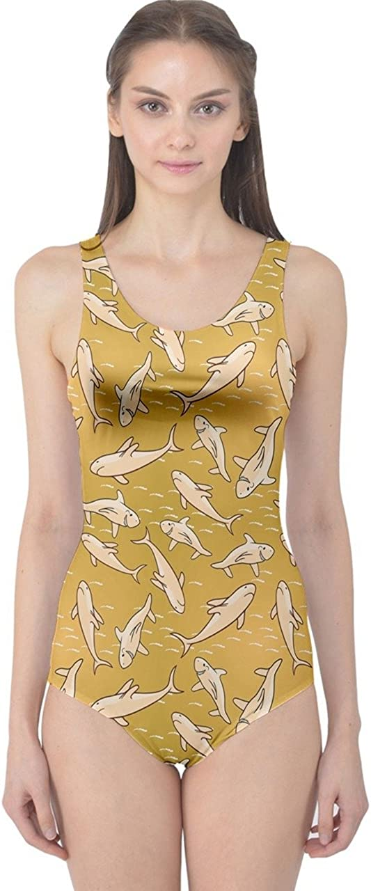 CowCow Womens Beachwear Sharks Penguin Dolphin Octopus Whale Fish Scales One Piece Swimsuit, XS-5XL