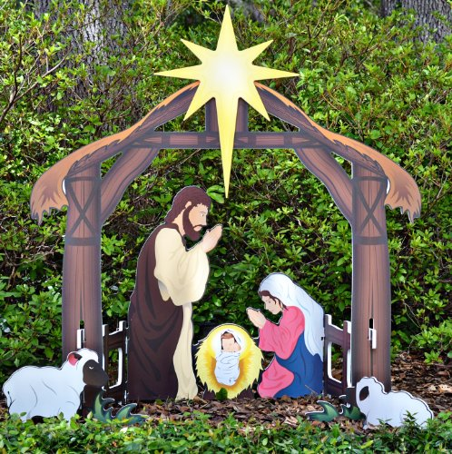 Celebrate christmas with outdoor lighted nativity sets and statues teak isle holy night printed outdoor nativity set workwithnaturefo