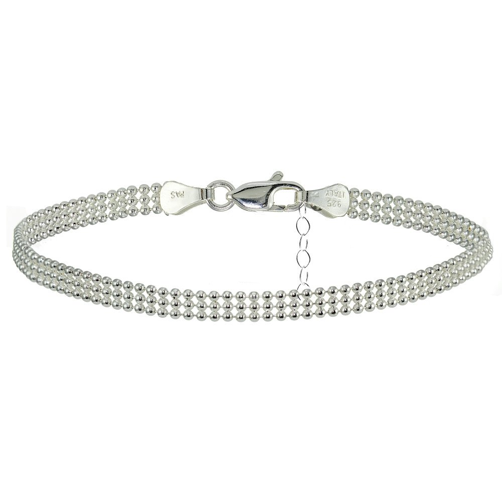 Sterling Silver Mesh Design Anklet