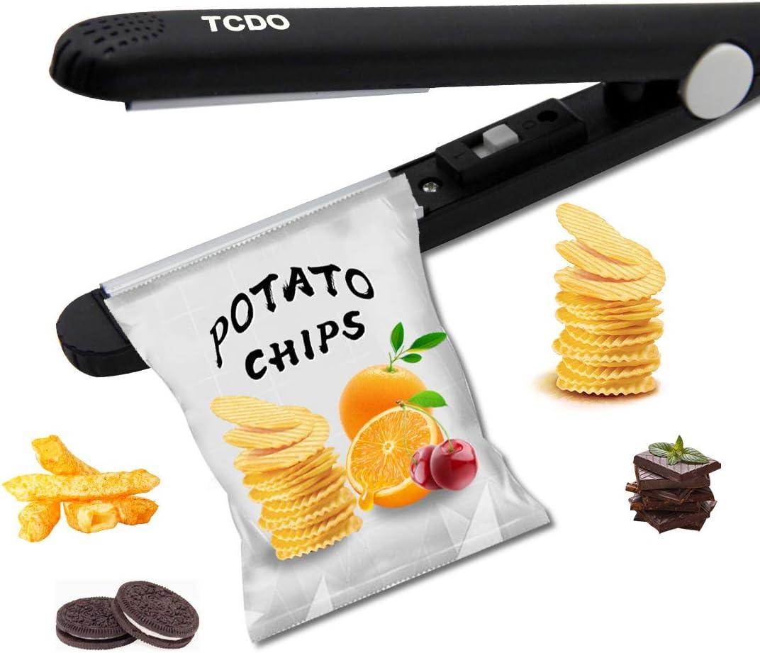 Bag Sealer,Heat Sealer,Chip Bag Sealer,Paper Crimper,Bag Sealer Heat Seal,TCDO Handheld Bag Sealer for food Storage,Protable Sealer Machine for Plastic Bags,Snack Bags,Vacuum Food Bag. (Dark Black)