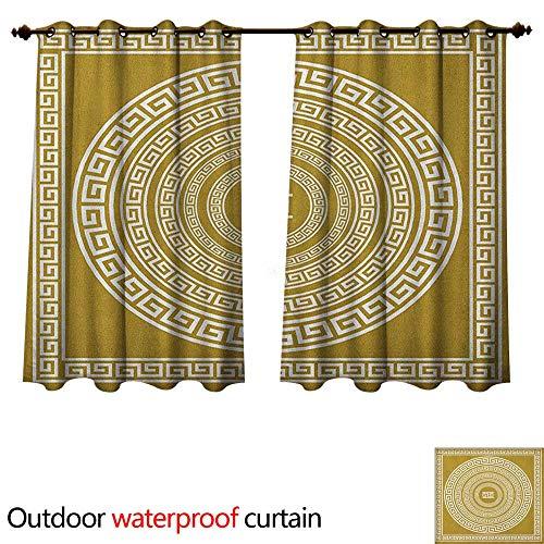 Anshesix Greek Key 0utdoor Curtains for Patio Waterproof Frieze with Vintage Ornament Meander Pattern from Greece Retro Twist Lines W72 x L72(183cm x 183cm)