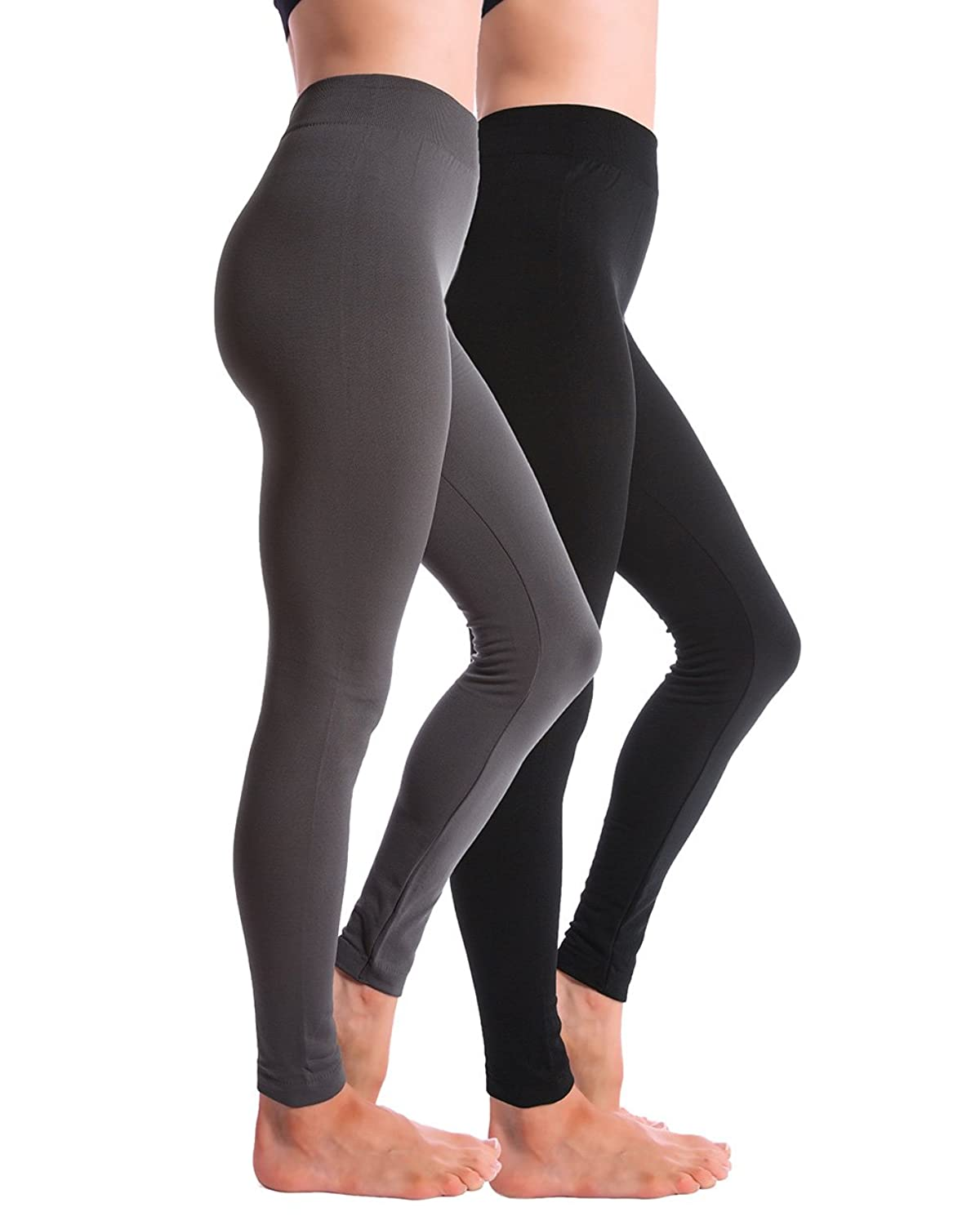 2-Pack Fleece Lined Thick Brushed Leggings Thights by Homma