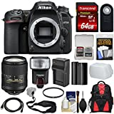 Nikon D7500 Wi-Fi 4K Digital SLR Camera Body with 18-300mm VR Lens + 64GB Card + Battery & Charger + Backpack + Strap + Flash + Kit