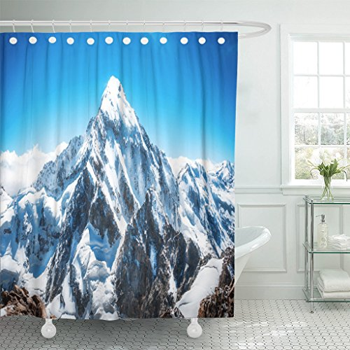 TOMPOP Shower Curtain Blue Mount Mountain Peak Everest National Park Nepal Range Waterproof Polyester Fabric 72 x 78 Inches Set with Hooks