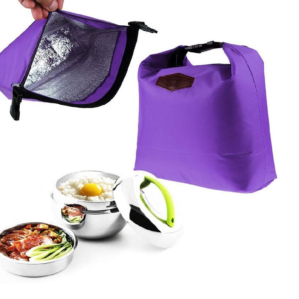 MOVEmen Lunch Bag Waterproof Thermal Cooler Insulated Lunch Box Portable Tote Storage Picnic Bags Child Storage Box Picnic Food Fruit Container Separate Box Jewelry Bag Packing Box (Purple)
