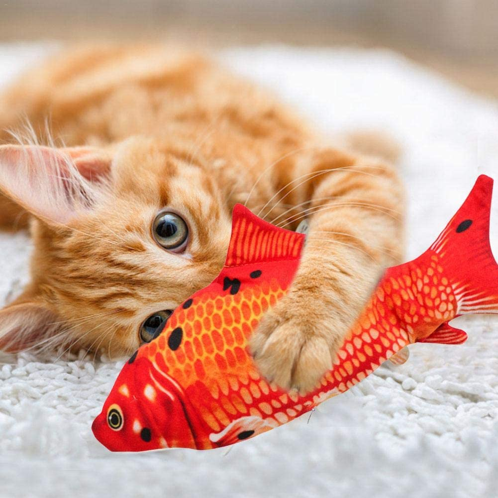 LIJUMN Juguetes El/éctricos para Peces Catnip,Juguete Realista para Peces Simulaci/ón Felpa,Juguete Interactivos con USB De Pez Simulacion Peluche,Almohada De Gato Catnip Fish Toy Chew