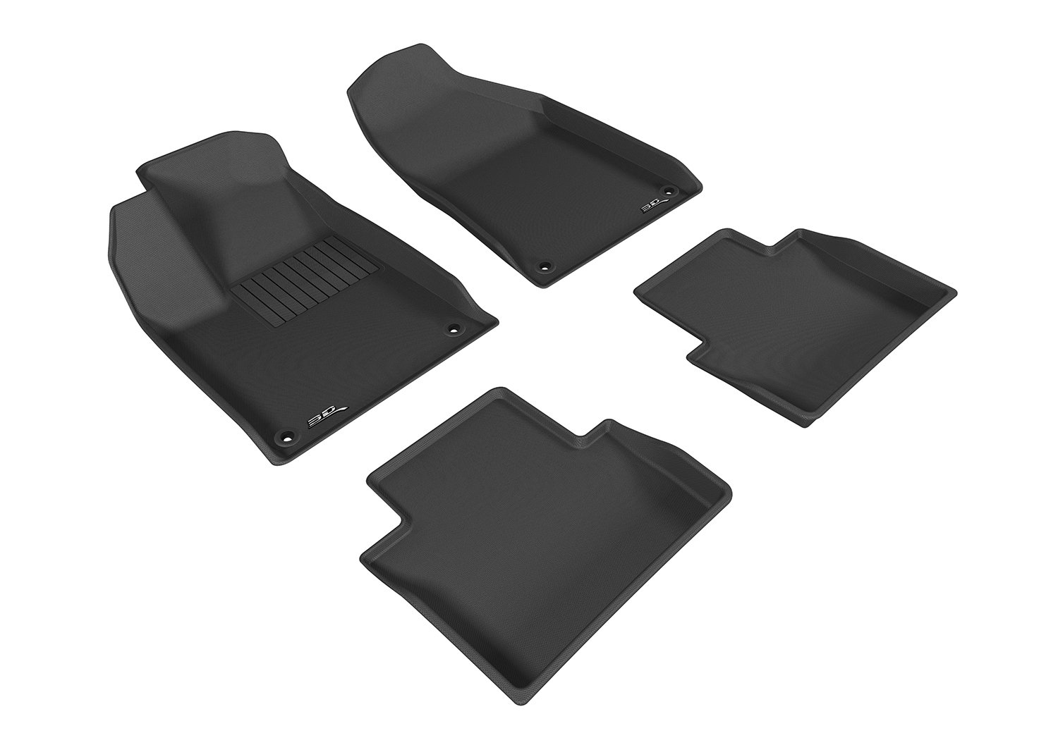 Black 3D MAXpider Second Row Custom Fit All-Weather Floor Mat for Select Chrysler 200 Models Kagu Rubber