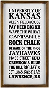 43LenaJon University of Kansas Ku Jayhawks Subway Rustic Wood Wall Sign,Hanging Wood Sign with Frame,Men cave Sign Decor for Garden,Personalized Text Saying Party Funny Wooden Farmhouse Quotes Label