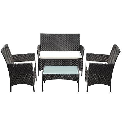 Amazon.com: 9rit_shop - Juego de 4 mesas de mimbre ...