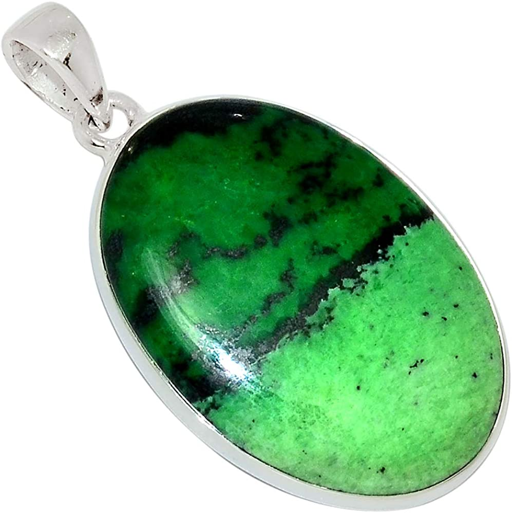 Xtremegems South African Trans Vaal Jade 925 Sterling Silver Pendant Jewelry 1 5//8 31924P