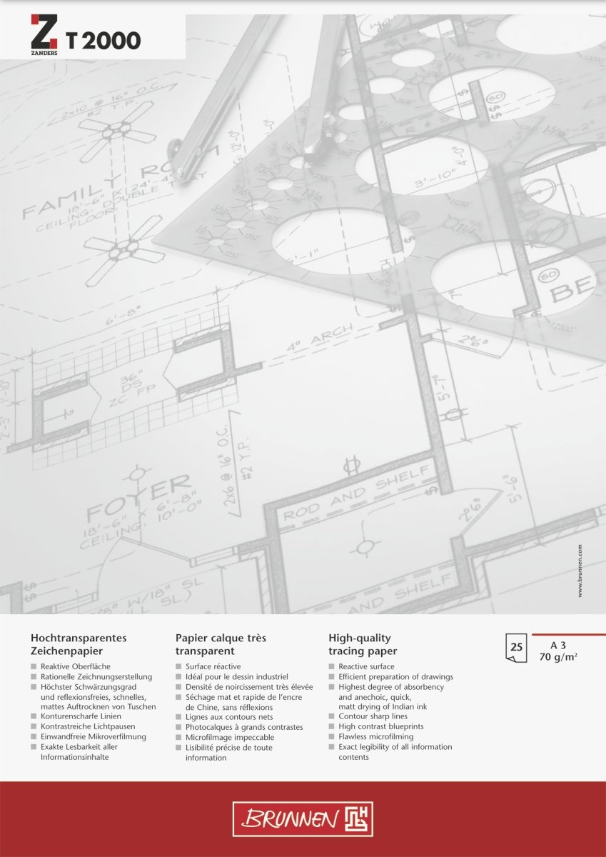 Brunnen 1047360 Sketch, Layout, Draft Pad, Glued at Head, A3, 297 x 420 mm, 70 g/m², 25