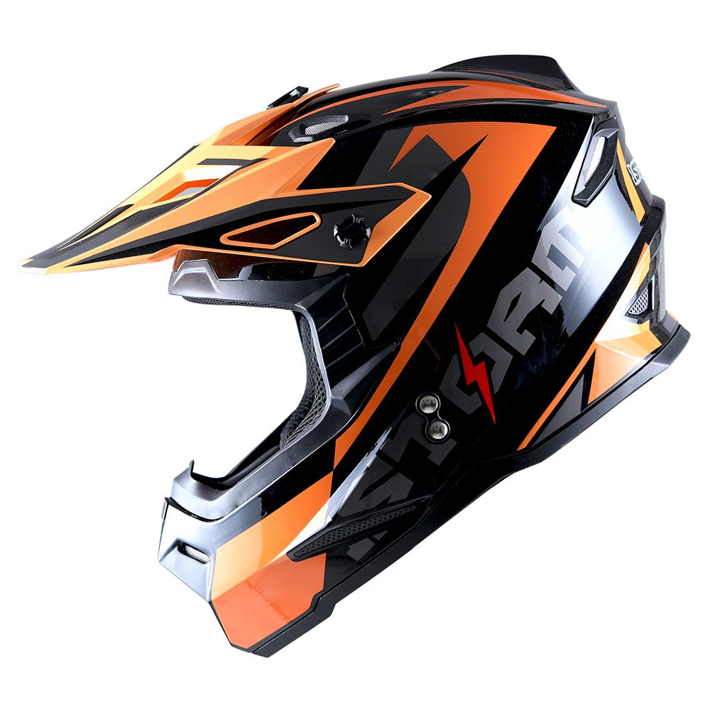 1Storm Adult Motocross Helmet BMX MX ATV Dirt Bike Helmet Racing Style Glossy Orange; + Goggles + Skeleton Orange Glove Bundle by 1Storm (Image #3)