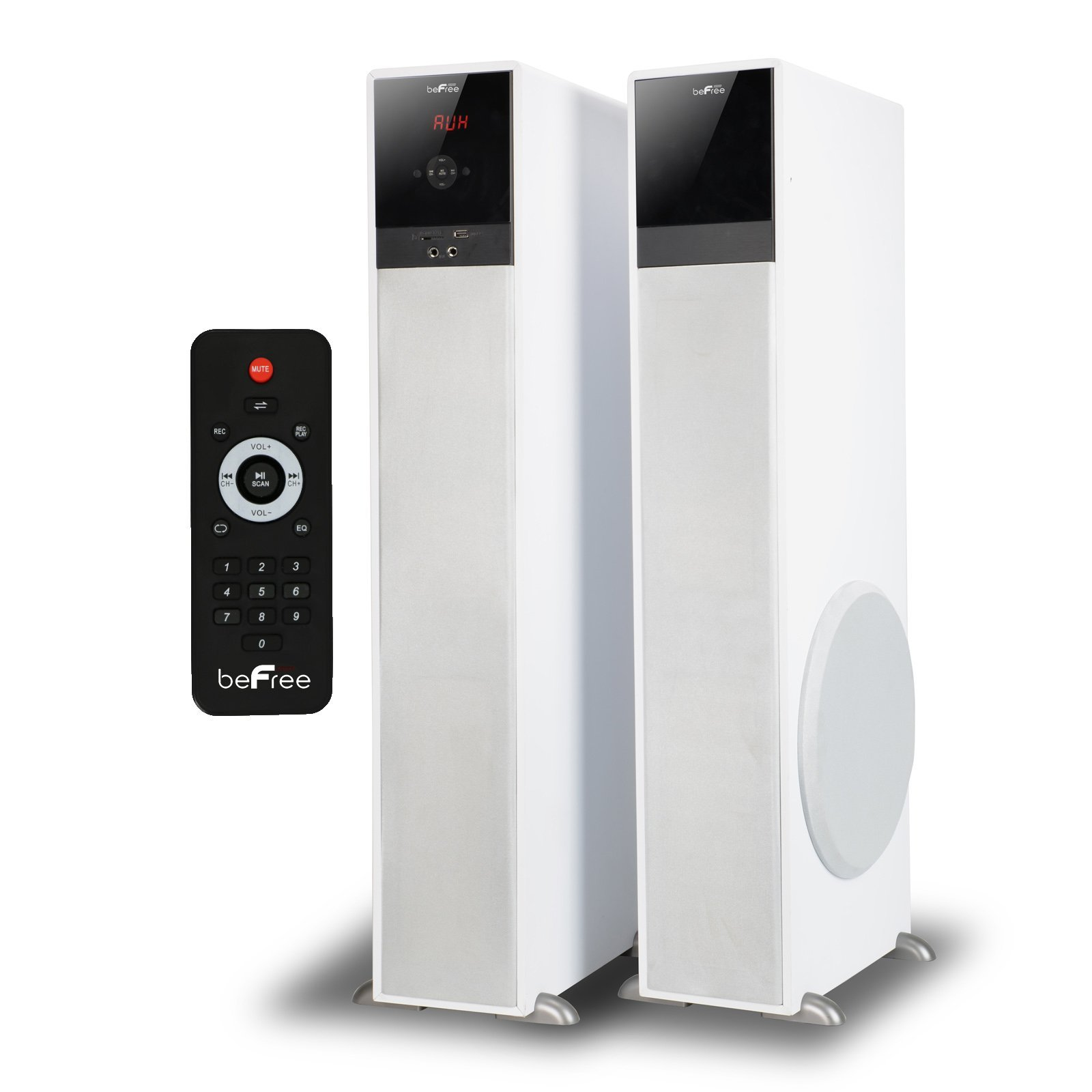 beFree Sound BFS-TP100W 2.1 Channel Bluetooth Tower Speakers - White