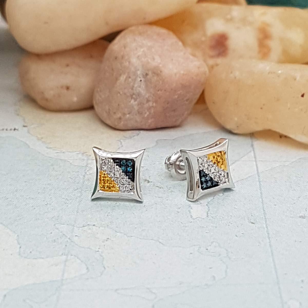 Dazzlingrock Collection 0.10 Carat White /& Yellow Round Diamond Micro Pave Setting Kite Shape Stud Earrings 1//10 CT ctw Blue