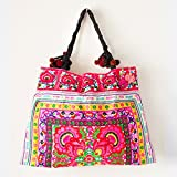 Changnoi Unique Hmong Hill Tribes Tote Bag Embroidered Fabric Large Size (Flower 2 White)