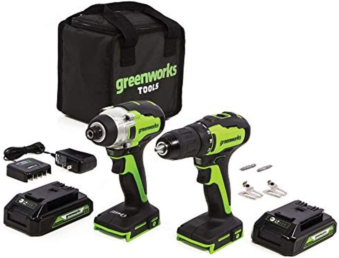 Greenworks 24V Brushless Drill / Driver + Impact Driver, (2) USB (Power Bank) Batteries and Charger
