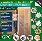 Meiz Magnetic Screen Door,Mesh Curtain With Full Frame Velcro,Keeps Bugs Out,Lets Fresh Air In,Toddler And Pet Friendly,Fits Door Up To 34'' x 82'' (White)