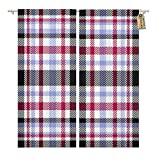 Golee Window Curtain Tartan Plaid Pattern Black White Dark Red and Lavender Home Decor Rod Pocket Drapes 2 Panels Curtain 104 x 96 inches