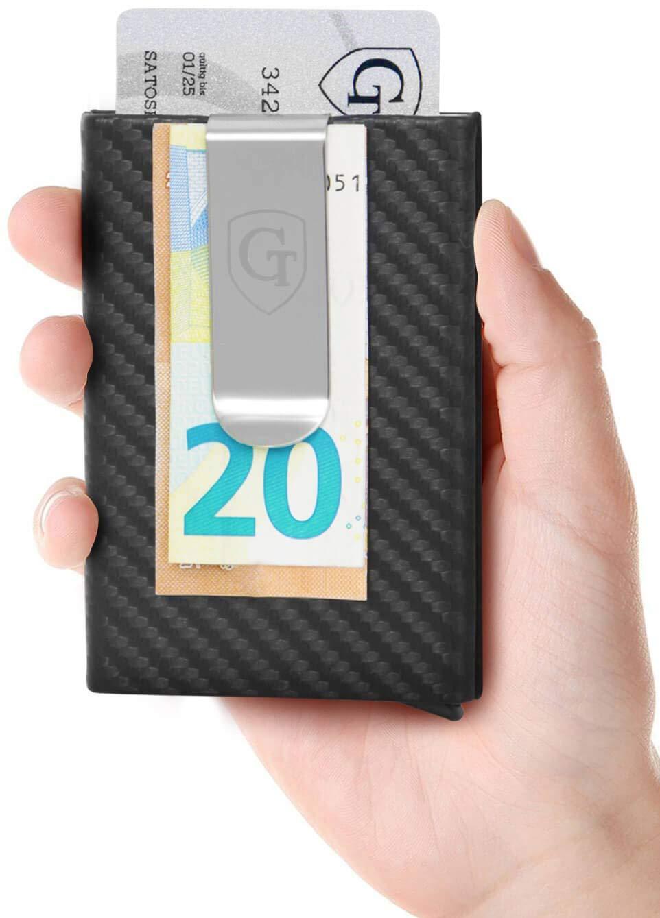 598dba76a863d GenTo® Kartenetui mit Geldklammer Tokyo - RFID   NFC Schutz - Super Slim  Carbon Look