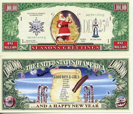 Season's Greetings Santa's List Novelty Million Dollar Bill