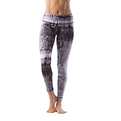90 Degree By Reflex Performance Activewear - Printed Yoga Leggings - Reptile Muave - XL