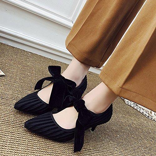 T-july Mocassini Scarpe Da Donna - Fashion Bowknot Moderno Slip Sul Tacco Medio A Punta In Camoscio Nero