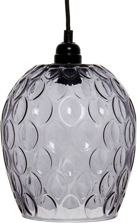 Glas Lampe Glocke Hängeleuchte Hängelampe Klar Glas Grau Klar