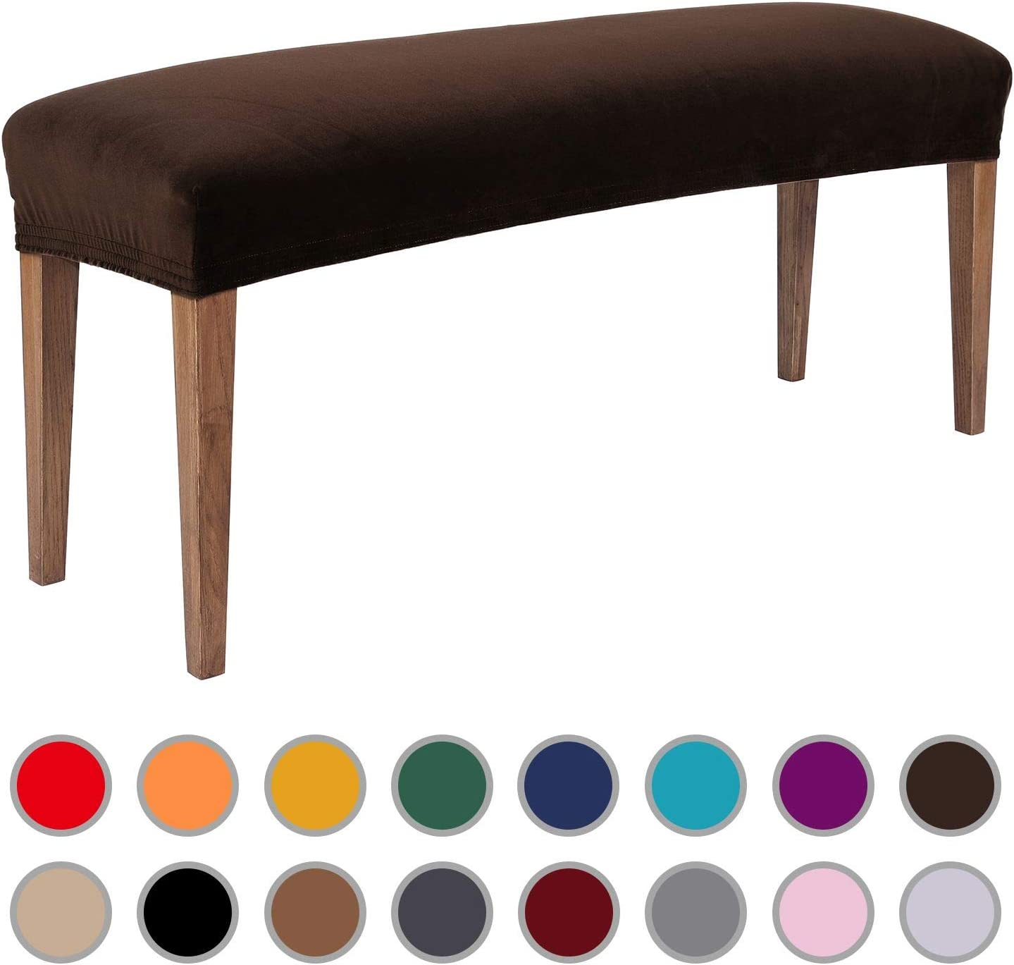 Colorxy Velvet Bench Covers for Dining Room - Stretch Spandex Upholstered Bench Slipcover Rectangle Removable Washable Bench Furniture Seat Protector for Living Room, Bedroom, Kitchen (Dark Coffee)