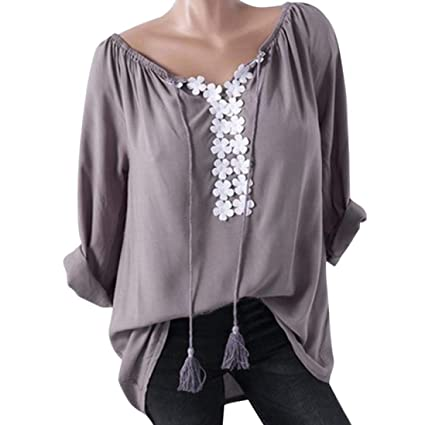 bb2df9edda8a Image Unavailable. Image not available for. Color  Women Plus Size Long Sleeve  Tops Daoroka ...