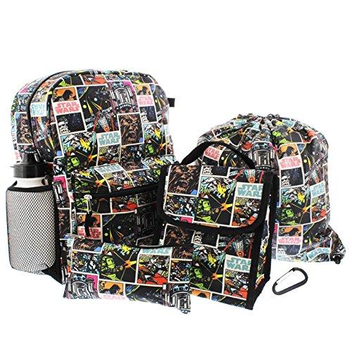 Disney Star Wars 6 Piece Backpack Set - Backpack, Lunch Bag, Cinch Bag, Pencil Case, Water Bottle and Carabiner