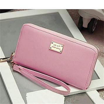 GXSCE Cartera Larga de Moda, Cierre de Cremallera en Color Liso, Billetera Desmontable multifunción, Rosa: Amazon.es: Hogar