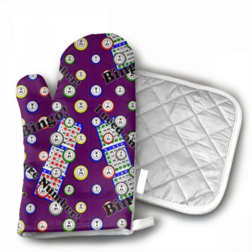 InsulatedMitt59 Bingo I Need One More Number Oven Mitts, Non-Slip Silicone Oven Mitts, Extra Long Kitchen Mitts, Heat Resistant to 572¡ãF Kitchen Oven Gloves by InsulatedMitt59