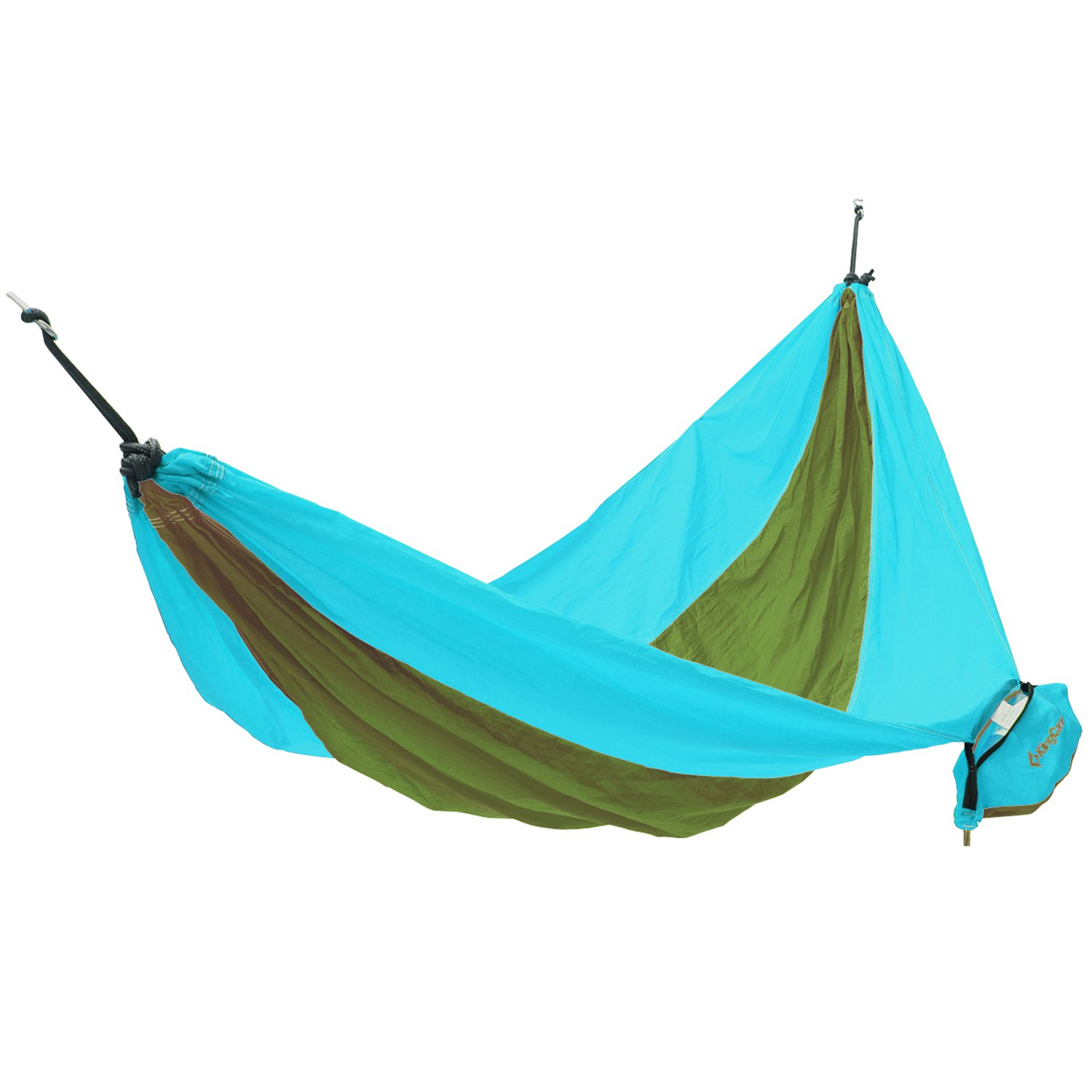 KingCamp Camping Hammock 2 Person Nylon Canvas 220lbs Swing Bed Side Bag Colorful Stripes Parachute Outdoor Camping Patio Yard Beach